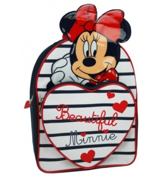 Minnie Mouse Stripy Heart Front Backpack